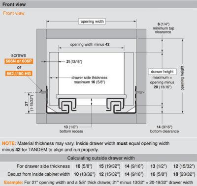Blum Tandem 563H Drawer Specs
