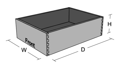 Dovetail Drawer Box Dimensions